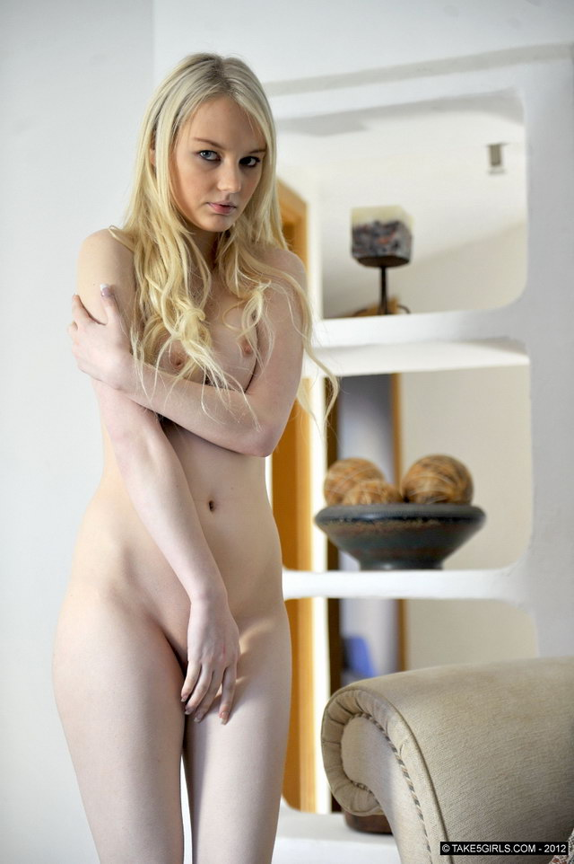 Naked girl with white skin remarkable, the